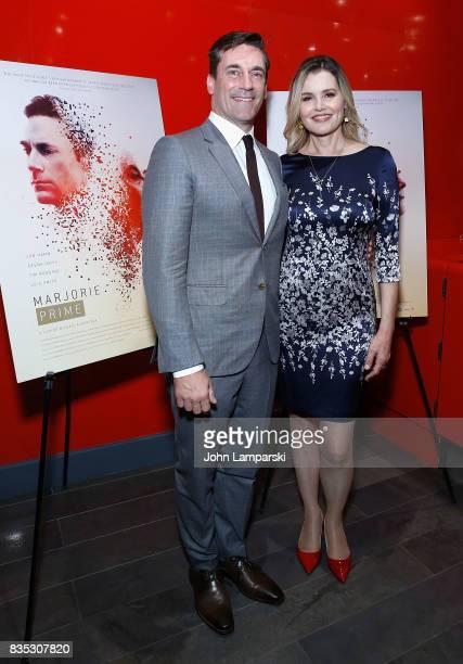 Jon Hamm and Geena Davis attends 'Marjorie Prime' New York premiere on August 18 2017 in New York City