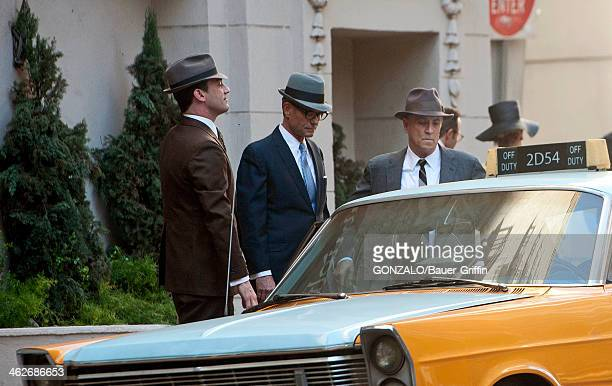 Jon Hamm and Harry Hamlin are seen on the set of 'Mad Men' on January 14 2014 in Los Angeles California