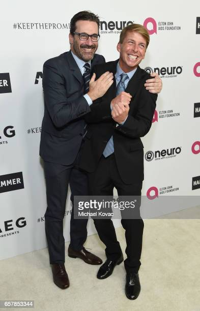 Jon Hamm and Jack McBrayer celebrate Elton John's 70th Birthday and 50Year Songwriting Partnership with Bernie Taupin benefiting the Elton John AIDS...