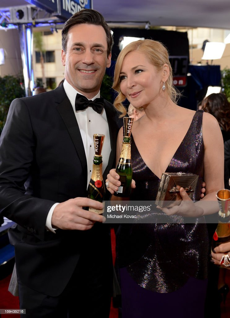 <a gi-track='captionPersonalityLinkClicked' href=/galleries/search?phrase=Jon+Hamm&family=editorial&specificpeople=3027367 ng-click='$event.stopPropagation()'>Jon Hamm</a> and <a gi-track='captionPersonalityLinkClicked' href=/galleries/search?phrase=Jennifer+Westfeldt&family=editorial&specificpeople=228494 ng-click='$event.stopPropagation()'>Jennifer Westfeldt</a> attend Moet & Chandon At The 70th Annual Golden Globe Awards Red Carpet at The Beverly Hilton Hotel on January 13, 2013 in Beverly Hills, California.