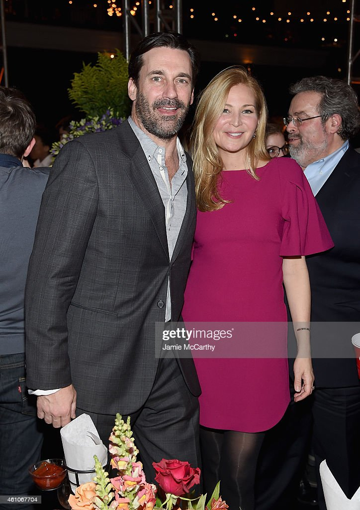 Jon Hamm and Jennifer Westfeldt attend the 'Girls' season four series premiere after party at The Museum of Natural History on January 5, 2015 in New York City.