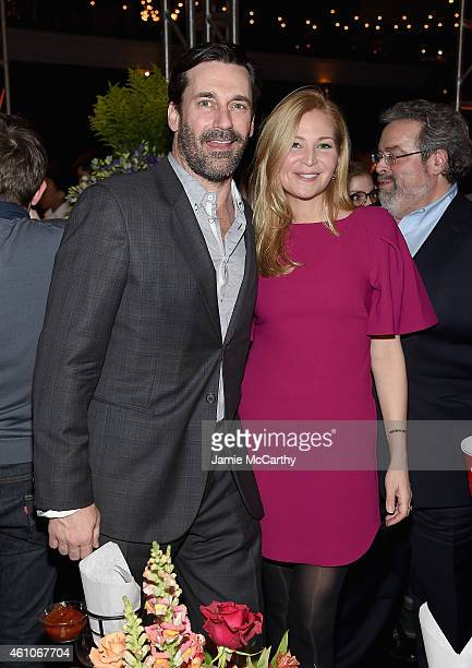 Jon Hamm and Jennifer Westfeldt attend the 'Girls' season four series premiere after party at The Museum of Natural History on January 5 2015 in New...