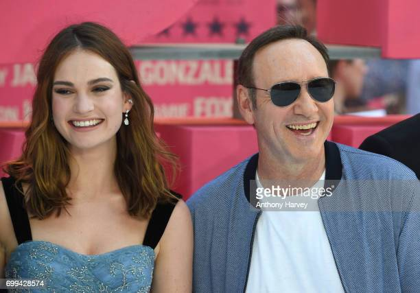 Jon Hamm and Lily James attend the European premiere of 'Baby Driver' on June 21 2017 in London United Kingdom