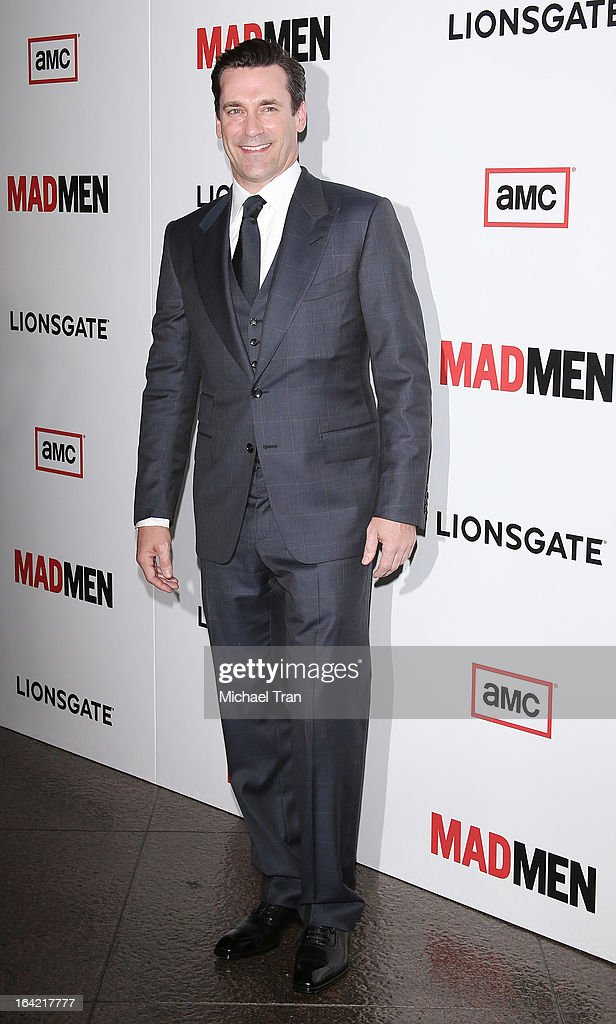 <a gi-track='captionPersonalityLinkClicked' href=/galleries/search?phrase=Jon+Hamm&family=editorial&specificpeople=3027367 ng-click='$event.stopPropagation()'>Jon Hamm</a> arrives at AMC's 'Mad Men' season 6 premiere held at DGA Theater on March 20, 2013 in Los Angeles, California.