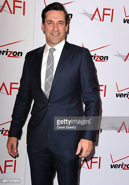 Jon Hamm arrives at the American Film Institute Awards Luncheon at Four Seasons Hotel Los Angeles at Beverly Hills on January 10 2014 in Beverly...
