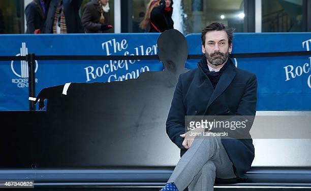 Jon Hamm attends 'Mad Men' art installation Unveiling at Time Life Building on March 23 2015 in New York City