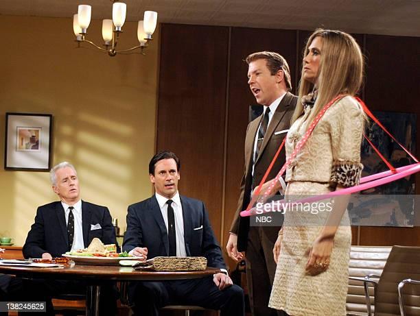 LIVE 'Jon Hamm' Episode 1537 Pictured John Slattery as Roger Sterling Jon Hamm as Don Draper Jason Sudeikis as AHole Kristen Wiig as AHole during the...
