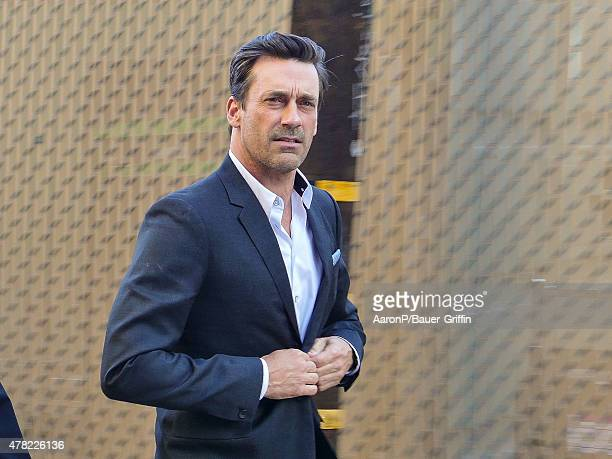 Jon Hamm is seen greeting fans outside 'Jimmy Kimmel Live' on June 23 2015 in Los Angeles California