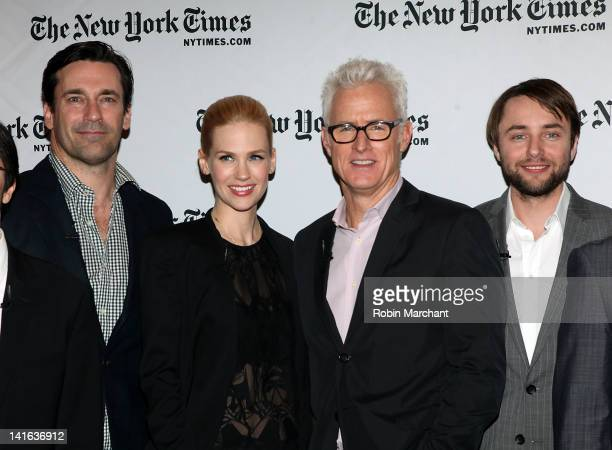 Jon Hamm January Jones John Slattery and Vincent Kartheiser attend the TimesTalk A Conversation with the Cast of 'Mad Men' at The Times Center on...