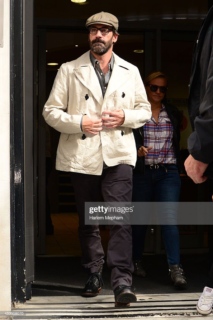 <a gi-track='captionPersonalityLinkClicked' href=/galleries/search?phrase=Jon+Hamm&family=editorial&specificpeople=3027367 ng-click='$event.stopPropagation()'>Jon Hamm</a> sighted leaving BBC Radio Two on August 22, 2014 in London, England.