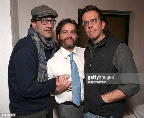 Jon Hamm Zach Galifianakis and Ed Helms attend the after party for the premiere Of FX's 'Baskets' at the Pacific Design Center on January 14 2016 in...