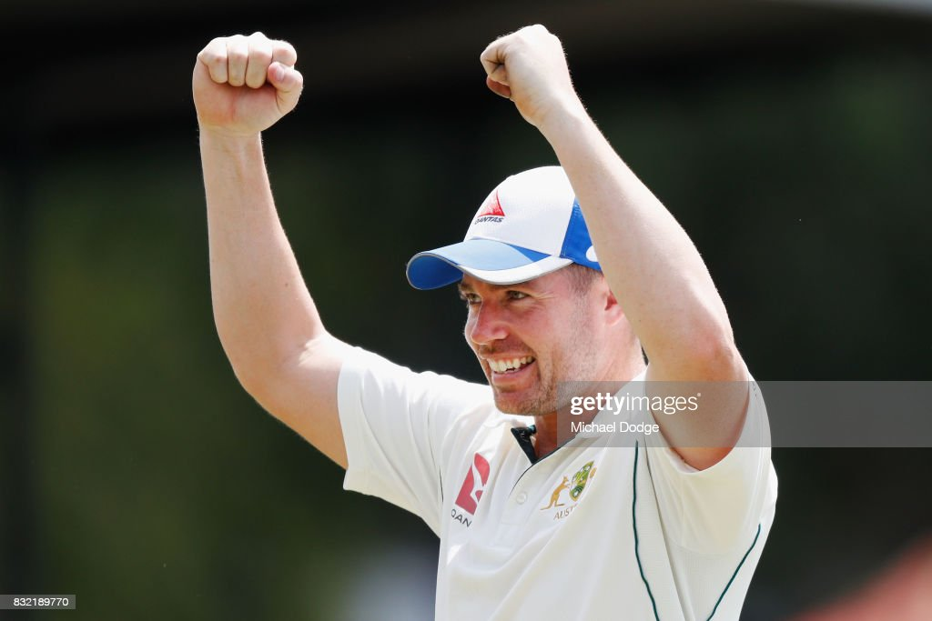Jon Holland celebrates his wicket haul during day three of the Australian Test cricket inter-squad match at Marrara Cricket Ground on August 16, 2017 in Darwin, Australia.