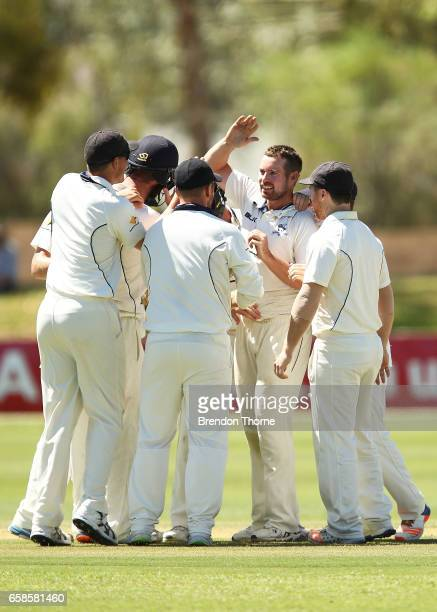 Jon Holland of the Bushrangers celebrates with team mates after claiming the wicket of Jake Lehmann of the Redbacks during the Sheffield Shield final...