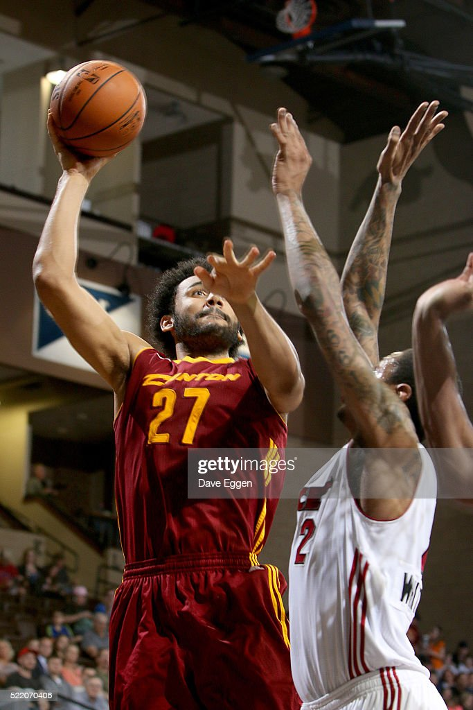 Jon Horford #27 of the Canton Charge looks for the short jumper over <a gi-track='captionPersonalityLinkClicked' href=/galleries/search?phrase=Greg+Whittington&family=editorial&specificpeople=7636075 ng-click='$event.stopPropagation()'>Greg Whittington</a> #2 of the Sioux Falls Skyforce during their NBA D-League Eastern Conference Playoff game at the Sanford Pentagon April 17, 2016 in Sioux Falls, South Dakota.