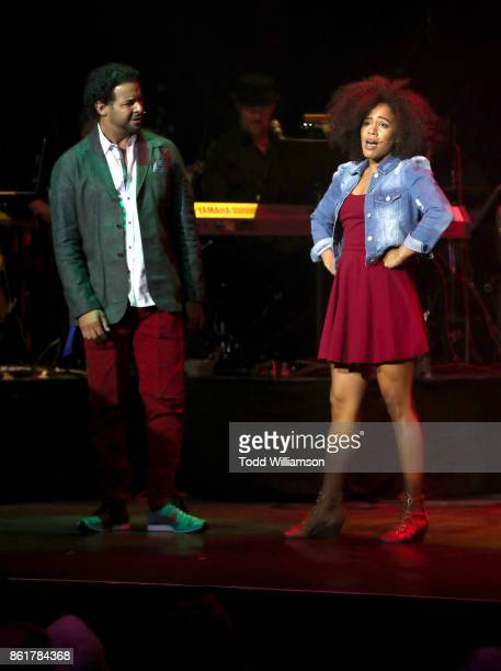 Jon Huertas and Stephanie Ballena perform onstage at National Breast Cancer Coalition Fund's 17th Annual Les Girls Cabaret at Avalon Hollywood on...