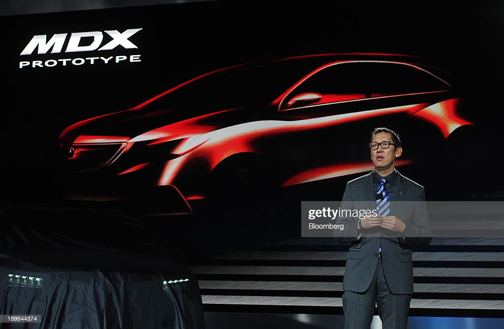 Jon Ikeda, chief designer for Acura, speaks during the 2013 North American International Auto Show (NAIAS) in Detroit, Michigan, U.S., on Tuesday, Jan. 15, 2013. The Detroit auto show runs through Jan. 27 and will display over 500 vehicles, representing the most innovative designs in the world. Photographer: Daniel Acker/Bloomberg via Getty Images