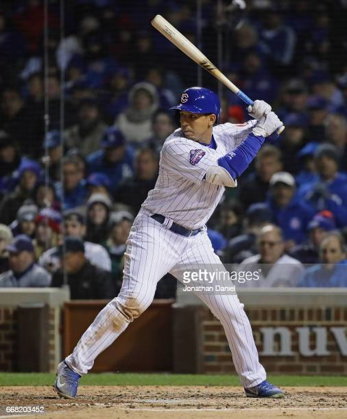 Jon Jay of the Chicago Cubs bats against the Los Angeles Dodgers at Wrigley Field on April 12 2017 in Chicago Illinois The Dodgers defeated the Cubs...