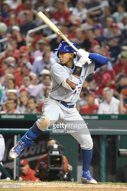 Jon Jay of the Chicago Cubs prepares for a pitch during a baseball game against the Washington Nationals at Nationals Park on June 28 2017 in...