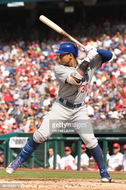 Jon Jay of the Chicago Cubs prepares for a pitch during a baseball game against the Washington Nationals at Nationals Park on June 29 2017 in...