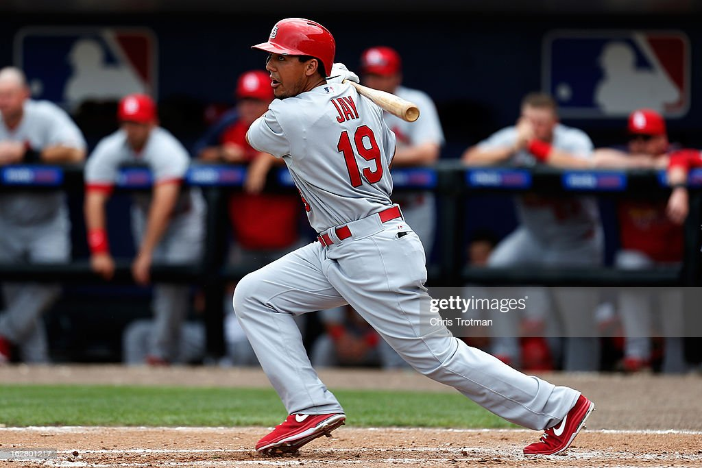 <a gi-track='captionPersonalityLinkClicked' href=/galleries/search?phrase=Jon+Jay+-+Baseball+Player&family=editorial&specificpeople=5734285 ng-click='$event.stopPropagation()'>Jon Jay</a> #19 of the St. Louis Cardinals bats against the New York Mets at Tradition Field on February 27, 2013 in Port St. Lucie, Florida.