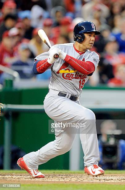Jon Jay of the St Louis Cardinals bats against the Washington Nationals at Nationals Park on April 22 2015 in Washington DC
