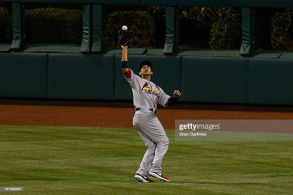 <a gi-track='captionPersonalityLinkClicked' href=/galleries/search?phrase=Jon+Jay+-+Baseball+Player&family=editorial&specificpeople=5734285 ng-click='$event.stopPropagation()'>Jon Jay</a> #19 of the St. Louis Cardinals catches the ball in the sixth inning of the game against the Philadelphia Phillies at Citizens Bank Park on April 19, 2013 in Philadelphia, Pennsylvania.