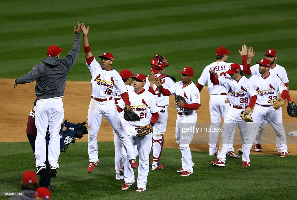 <a gi-track='captionPersonalityLinkClicked' href=/galleries/search?phrase=Jon+Jay+-+Baseball+Player&family=editorial&specificpeople=5734285 ng-click='$event.stopPropagation()'>Jon Jay</a> #19 of the St. Louis Cardinals celebrates with teammates after the Cardinals 8-3 victory against the San Francisco Giants in Game Four of the National League Championship Series at Busch Stadium on October 18, 2012 in St Louis, Missouri.