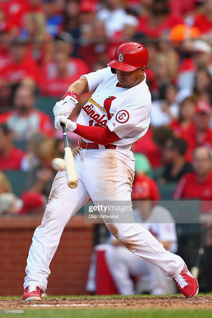 <a gi-track='captionPersonalityLinkClicked' href=/galleries/search?phrase=Jon+Jay+-+Baseball+Player&family=editorial&specificpeople=5734285 ng-click='$event.stopPropagation()'>Jon Jay</a> #19 of the St. Louis Cardinals hits an RBI triple against the Philadelphia Phillies in the third inning at Busch Stadium on July 25, 2013 in St. Louis, Missouri.