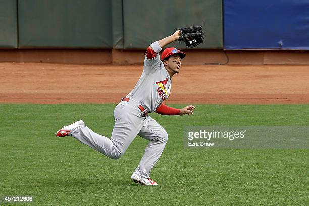 Jon Jay of the St Louis Cardinals makes a diving catch on a ball hit by Joe Panik of the San Francisco Giants in the first inning during Game Three...