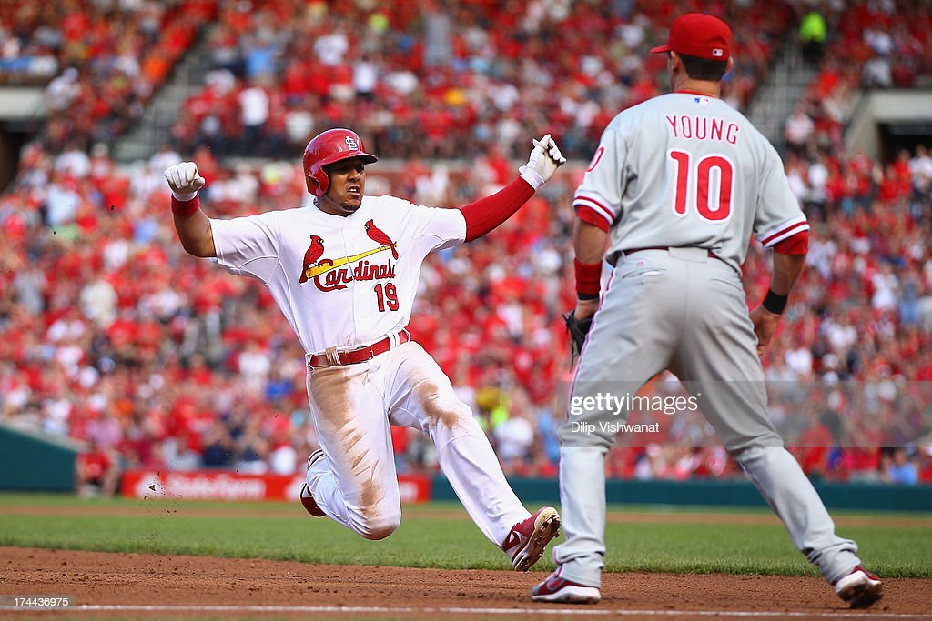 <a gi-track='captionPersonalityLinkClicked' href=/galleries/search?phrase=Jon+Jay+-+Baseball+Player&family=editorial&specificpeople=5734285 ng-click='$event.stopPropagation()'>Jon Jay</a> #19 of the St. Louis Cardinals slides into third base after hitting an RBI triple against the Philadelphia Phillies at Busch Stadium on July 25, 2013 in St. Louis, Missouri. The Cardinals beat the Phillies 3-1.