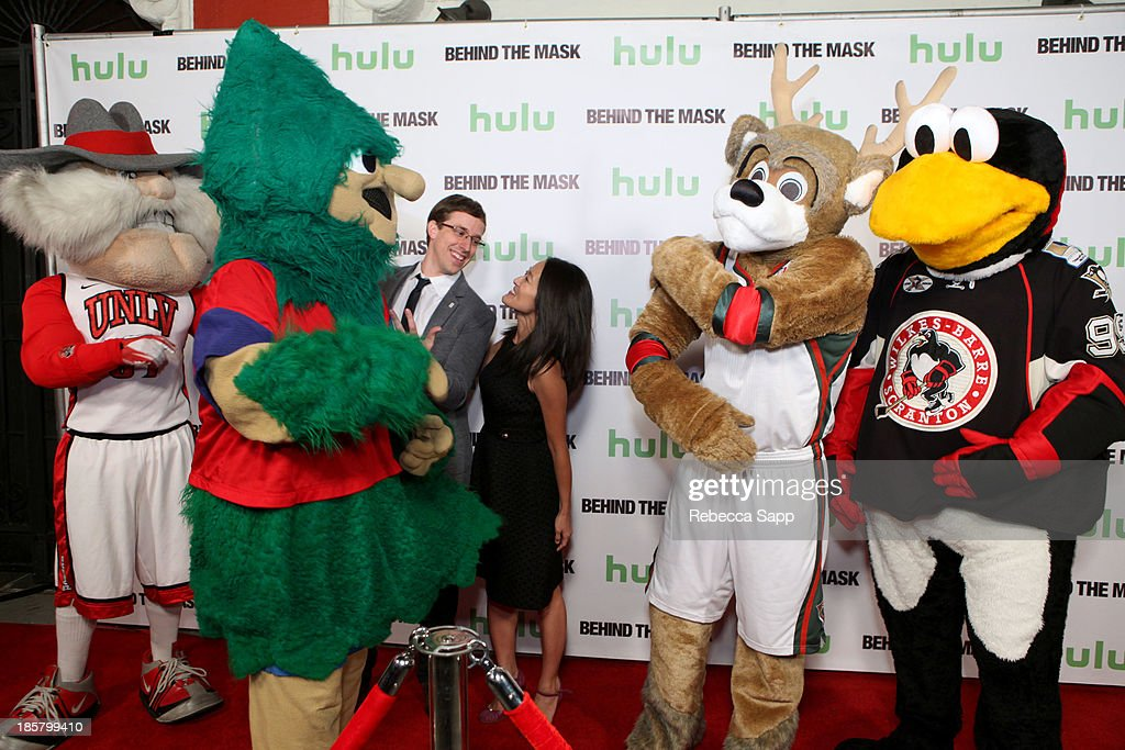 Jon 'Jersey' Goldman as UNLV's Hey Reb, Michael Hostetter as Lebanon High School's Rooty the Cedar Tree, director Josh Greenbaum, Head of Development Charolette Koh, Kevin Vanderkolk as NBA's Milwaukee Bucks' Bango and Chad Spencer as AHL hockey's Tux the Penguin at Hulu Presents The LA Premiere Of 'Behind the Mask' at the Vista Theatre on October 24, 2013 in Los Angeles, California.