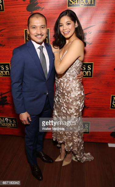 Jon Jon Briones and Eva Noblezada attend The Opening Night After Party for the New Broadway Production of 'Miss Saigon' at Tavern on the Green on...