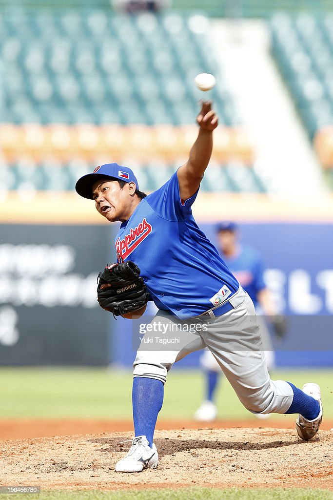 Jon Jon Robles #30 of Team Philippines pitches during Game 1 of the 2013 World Baseball Classic Qualifier against Team Thailand at Xinzhuang Stadium in New Taipei City, Taiwan on Thursday, November 15, 2012.