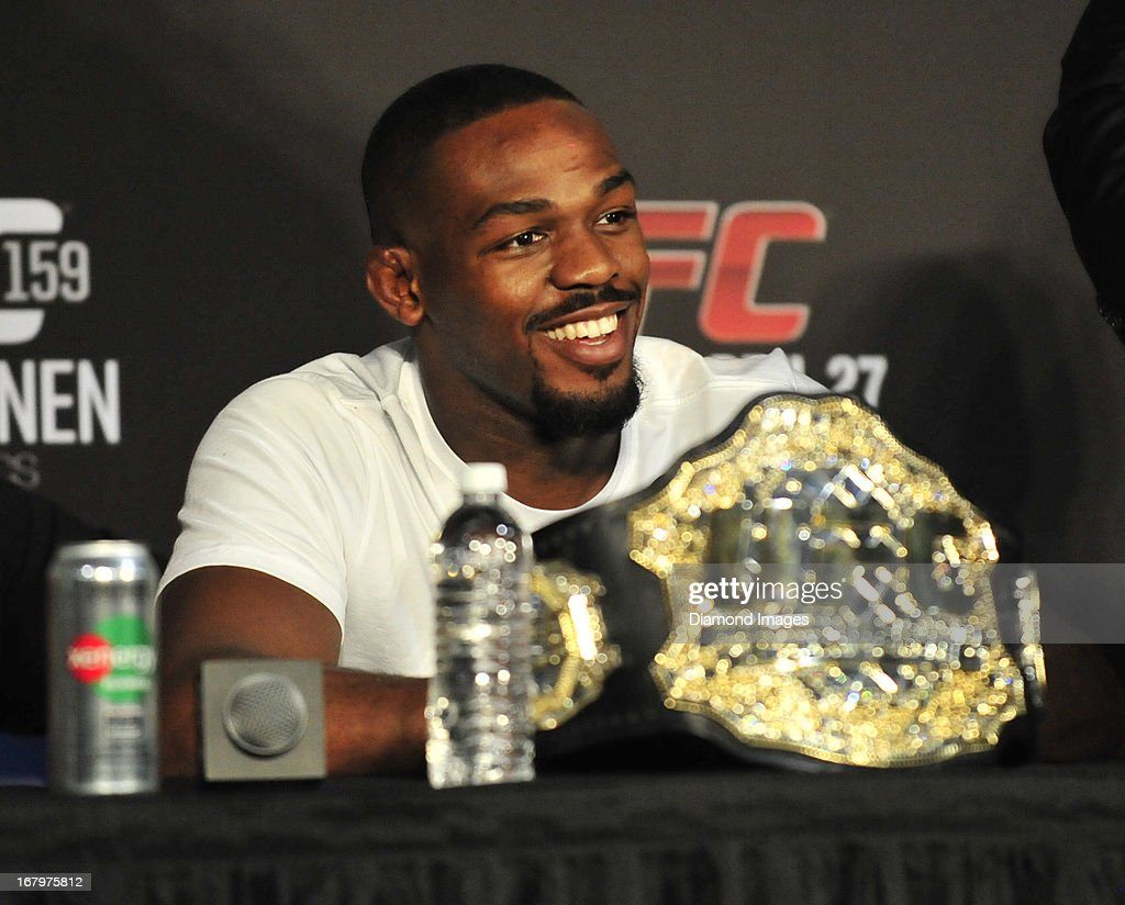 Jon Jones answers questions from the media after UFC 159 Jones v. Sonnen at Prudential Center in Newark, New Jersey.