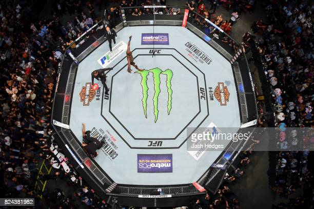 Jon Jones celebrates after his knockout victory over Daniel Cormier in their UFC light heavyweight championship bout during the UFC 214 event at...