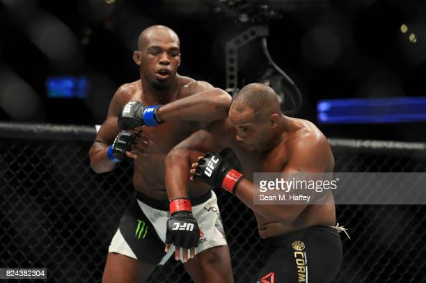 Jon Jones elbows Daniel Cormier during the UFC 214 event at Honda Center on July 29 2017 in Anaheim California