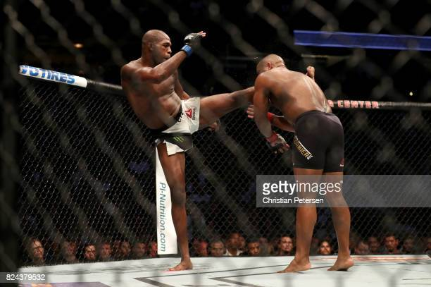 Jon Jones kicks Daniel Cormier in the head in their UFC light heavyweight championship bout during the UFC 214 event at Honda Center on July 29 2017...