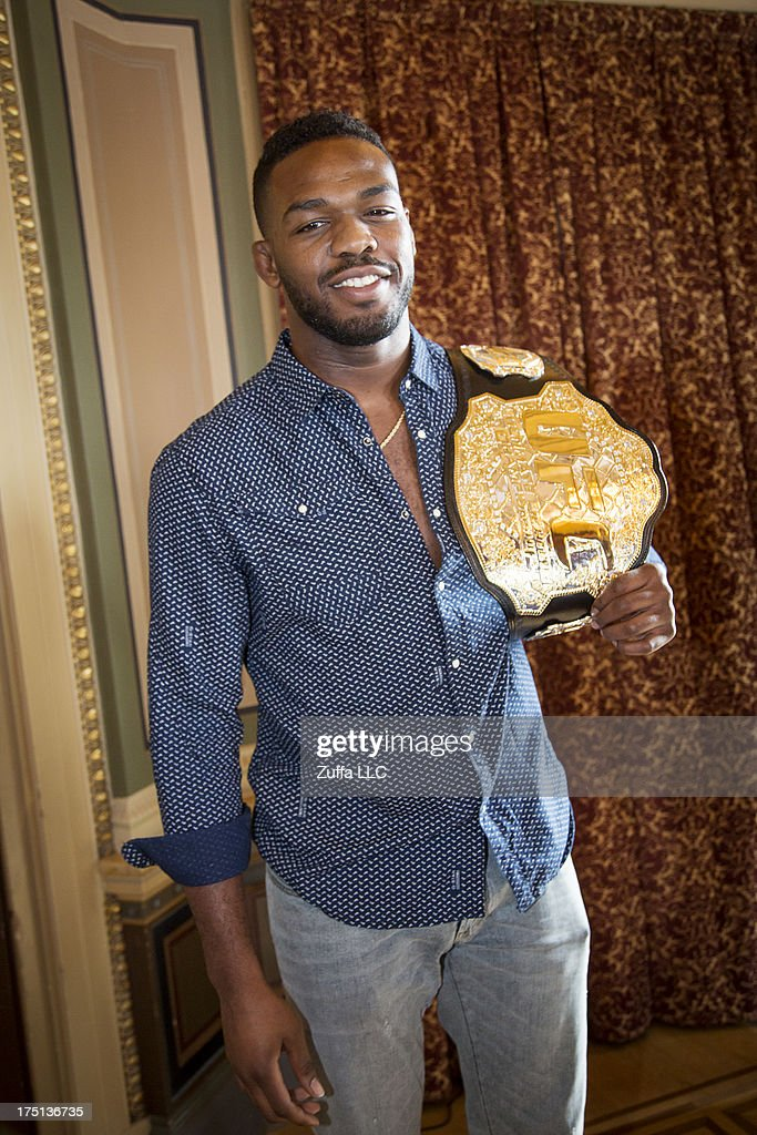 <a gi-track='captionPersonalityLinkClicked' href=/galleries/search?phrase=Jon+Jones+-+Mixed+Martial+Artist&family=editorial&specificpeople=8928306 ng-click='$event.stopPropagation()'>Jon Jones</a> of USA attends a UFC press tour event with Alexander Gustafsson of Sweden (not pictured) on August 01, 2013 in Stockholm, Sweden.