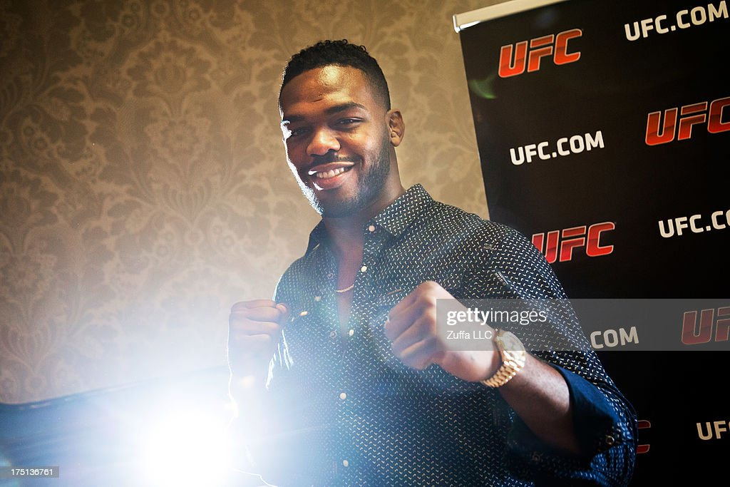 <a gi-track='captionPersonalityLinkClicked' href=/galleries/search?phrase=Jon+Jones+-+Mixed+Martial+Artist&family=editorial&specificpeople=8928306 ng-click='$event.stopPropagation()'>Jon Jones</a> of USA is interviewed during a UFC press tour event with Alexander Gustafsson of Sweden (not pictured) on August 01, 2013 in Stockholm, Sweden.