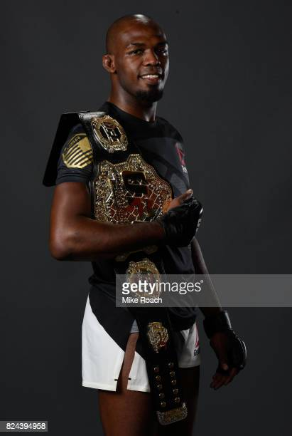 Jon Jones poses for a portrait backstatge after his victory over Daniel Cormier during the UFC 214 event at Honda Center on July 29 2017 in Anaheim...