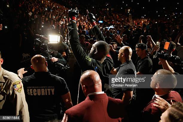 Jon Jones prepares to enter the Octagon before facing Ovince Saint Preux in their interim UFC light heavyweight championship bout during the UFC 197...