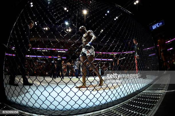 Jon Jones stands in his corner prior to facing Daniel Cormier in their UFC light heavyweight championship bout during the UFC 214 event inside the...