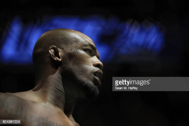 Jon Jones stands in the Octagon prior to his UFC light heavyweight championship bout against Daniel Cormier during the UFC 214 event at Honda Center...