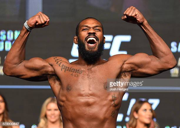 Jon Jones steps on the scale during the UFC 197 weighin at the MGM Grand Garden Arena on April 20 2016 in Las Vegas Nevada