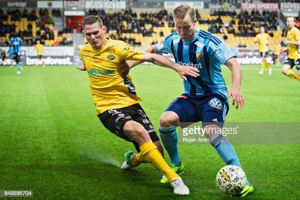 Jon Jonsson of IF Elfsborg and Gustav Engvall of Djurgardens IF competes for the ball during the Allsvenskan match between IF Elfsborg and...