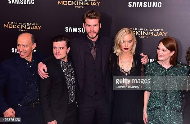 Jon Kilik Josh Hutcherson Liam Hemsworth Jennifer Lawrence and Julianne Moore attend the 'The Hunger Games Mockingjay Part 2' New York premiere at...