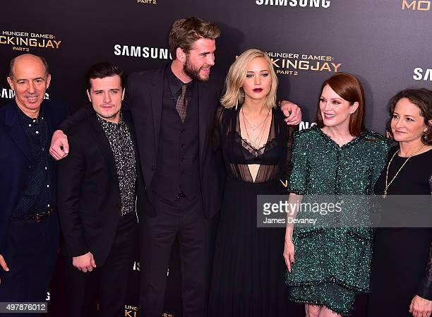 Jon Kilik Josh Hutcherson Liam Hemsworth Jennifer Lawrence Julianne Moore and Nina Jacobson attend the 'The Hunger Games Mockingjay Part 2' New York...