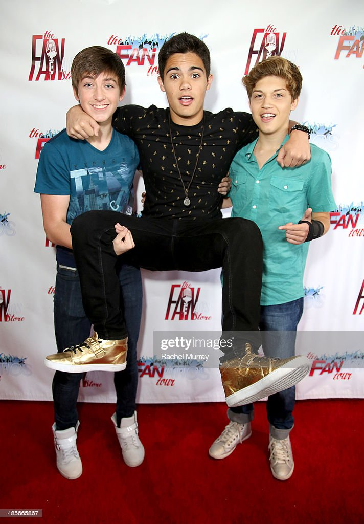 Jon Klaasen, <a gi-track='captionPersonalityLinkClicked' href=/galleries/search?phrase=Emery+Kelly&family=editorial&specificpeople=11643646 ng-click='$event.stopPropagation()'>Emery Kelly</a>, and Ricky Garcia of Forever In Your Mind arrive at The Fanatics Tour L.A. Show at Infusion Lounge on April 19, 2014 in Universal City, California.
