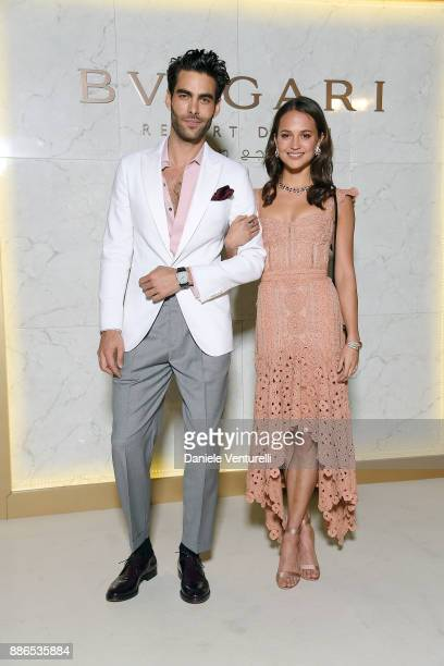 Jon Kortajarena and Alicia Vikander attends Grand Opening Bulgari Dubai Resort on December 5 2017 in Dubai United Arab Emirates