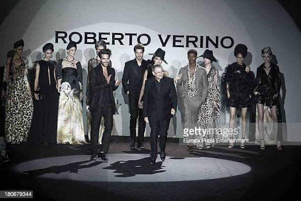Jon Kortajarena and Roberto Verino attend Roberto Verino show during Mercedes Benz Fashion Week Madrid Spring/Summer 2014 at Ifema on September 13...